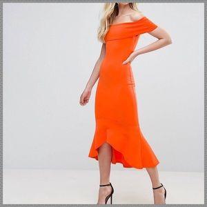 NWT ASOS Bardot sleeve scuba style midi dress